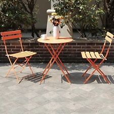 Folding Patio Bistro Set Outdoor 2 Chairs Garden Space Saving Furniture Orange
