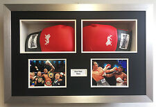 Boxing Glove Frames - Two Signed Boxing Gloves, 2 Photos, 1 Title | Black Mount