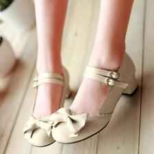 Womens Lolita Sweet Bowknot Mary Janes Ankle Strap Buckle Block Heel Pumps Shoes