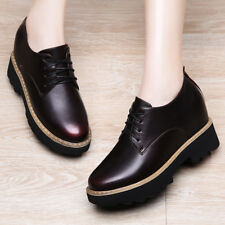 Girls Womens Platform Wedge 3.5 CM Height Oxfords Shoes Creeper Casual