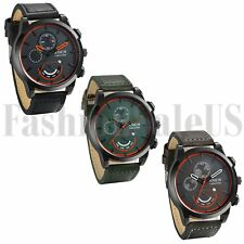 New INFANTRY Mens Quartz Wrist Watch Analog Army Sport Black Gray Green Leather