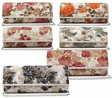 NEW WOMENS LADIES FLORAL MESH ENVELOPE SMALL FLAP CHAIN PARTY CLUTCH BAG