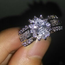 Sz 5-10 Cocktail Jewelry 10KT Gold Filled White Sapphire Diamonique Wedding Ring