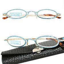 BLUE with SWAROVSKI CRYSTAL DAZZLE II CALABRIA Rx Optical Reading Glasses Case
