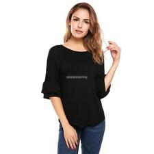 Women Casual Ruffle Sleeve Round Hemline O Neck Solid Loose Pullover DKVP