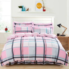 100% Cotton Quilt/Duvet/Doona Cover Set Queen/King Size Bed Checked Pillow Cases