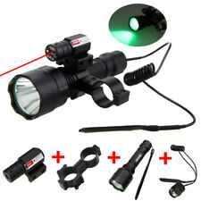 5000lm T6 LED Flashlight Torch Red Laser Picatinny Mount Switch Battery Charger
