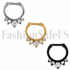 18G Rhinestone Nose Ring Bone Stud Stainless Steel Body Piercing Hanger Clip