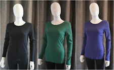 New M*S Womens Pure Cotton Long Sleeve Crew Neck T Shirt Top Blue Green Black