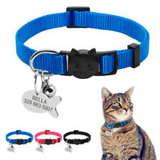 Personalized Breakaway Cat Collar with Bell Safety Quick Release Kitten Necklace