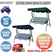 3 Seater Outdoor Swing Bench Chair Canopy Umbrella Lounge Furniture Steel Frame