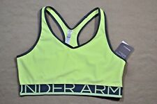 NWT WOMENS UNDER ARMOUR MID-IMPACT SUPPORT YELLOW/GRAY SPORTS BRA SZ M, L