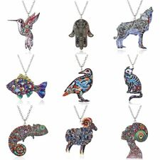 2017 Fashion Lady Animal Cat Bird Acrylic Pendant Necklace Jewelry Party Gifts