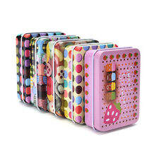 Mini Tin Metal Container Small Rectangle Lovely Storage Box Case Pattern HUCA
