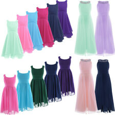 Flower Girl Dress Kids Party Wedding Birthday Chiffon Pleated Dresses Prom Gown