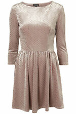 Topshop Velvet Gold Glitter Spot Skater Dress - Oyster UK 6 8 10 12 14 16 18