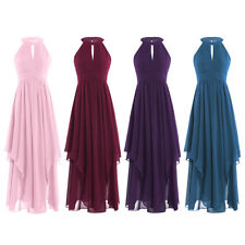 Maxi Long Dress Women Chiffon Halter Neck Sleeveless Formal Gown Pleated Party
