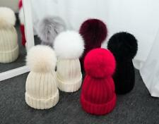Winter Hats Can remove Real Fox Fur Pom Pom Women Knit Beanie Bobble Hat