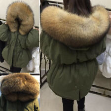 Women Raccoon Fur Collar Duck Down Coat Winter Short Hooded Jacket Outwear Parka
