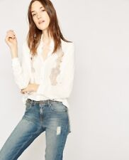 NWT The Kooples Off White Crepe Floral Embroidered Button Up Blouse Shirt Top