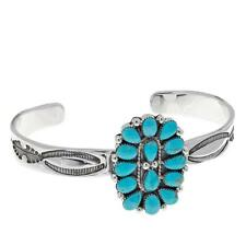 Chaco Canyon Kingman Turquoise Cluster Sterling Silver Cuff Bracelet