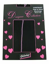Seamed Plain Top Stockings Contrast Seam & Leg (GL) Black with Pink/Red/Purple