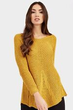 Ladies / Womens Mustard Cable Knit Crew Neck Jumper Clothing LOTD