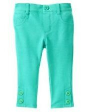 NWT Gymboree Girls Tiny Teal Green Button Hem Leggings/Pants  Size 6-12M 12-18M