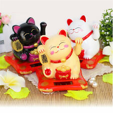Solar Powered Chinese Welcoming Lucky Beckoning Fortune Cat Waving Hand 2 Sizes