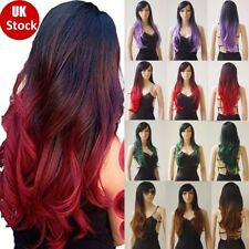 """Hot! 28"""" Full Wigs Fashion Women Long Curly Wave Straight Hair Black Roots Hh32"""