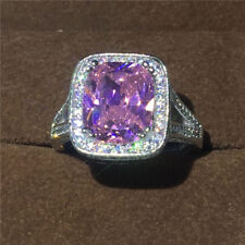 Women cushion Cut 10ct Pink sapphire CZ 10KT White Gold Filled Wedding band Ring
