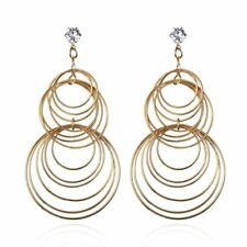 Multi-layer Geometric Circle Long Section Drop Earrings Hook Jewelry Christmas