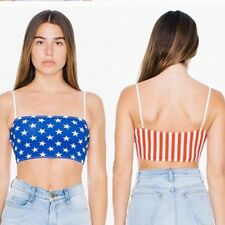 NEW! American Apparel US Flag Cotton Crop Tank Top Cropped Tank cami XS S M L