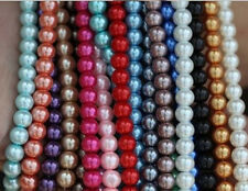 Round Glass Pearl Loose Spacer Beads Jewelry Bracelet Making Random Mixed Color
