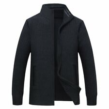 Men's Casual Knitted Zip Up Sweater Mock Neck Cardigan Coat Solid Color