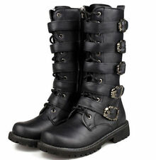New Punk Rock MENS BLACK GOTH PUNK ROCK BAND BUCKLE BOOTS