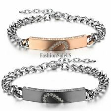 His and Hers Personalized Stainless Steel Couples Matching Heart Bracelet Chain