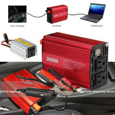 300W 150W Power Inverter Dual DC 12V to 110V AC Outlets Car Adapter 2 USB Port