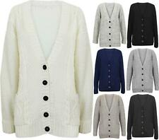 Ladies Womens Grandad Style Cable Knitted Cardigan Chunky Boyfriend Button Up