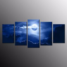 5 Panels Canvas Prints Home Decor Moon Painting Picture Wall Art Painting