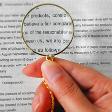 5x Magnifier Round Reading Magnifying Glass Lens Pendant Long Chain Necklace Inn