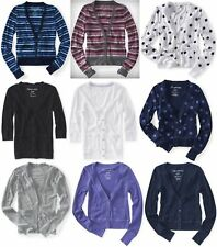AEROPOSTALE WOMENS CARDIGAN SWEATER BUTTON UP SHIRT STRIPED POLKA DOT SOLID NWT