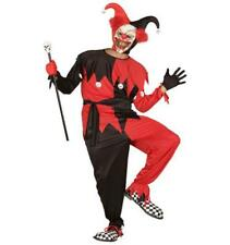 Evil Clown Jester Jumpsuit Mask Halloween Killer Psycho Freak Circus Black Red