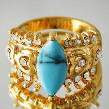 Pretty Gold Filled Womens Punk crystal Turquoise Promise Band Ring Size 7-9