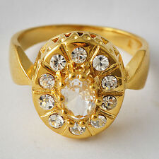 Gorgeous Womens yellow Gold Filled Clear CZ Promise Love Band Ring Size 7-9