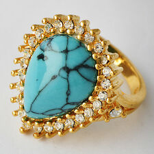Mystic Womens yellow Gold Filled Crystal Teardrop Turquoise Band Ring Size 7-9