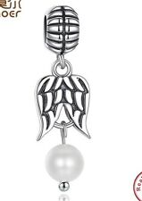 guardian Angel white pearl charm genuine sterling silver 925.