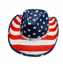 Straw Hat Cowboy Hat Western Hat Hat Flag USA with Hatband and Chin Strap