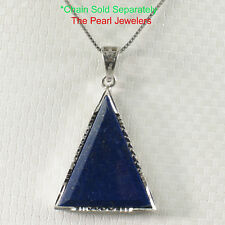 Solid Sterling Silver .925 Sets Triangle Blue Lapis Lazuli Pendant Necklace TPJ