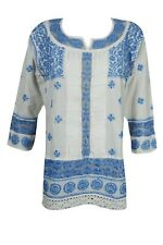 INDIAN ETHNIC COTTON TUNIC BLOUSE FLORAL HAND EMBROIDERED BOHO HIPPIE CHIC KURTI